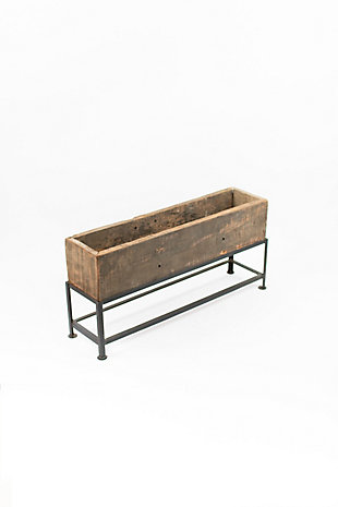 Recycled Wooden Planter with Iron Base, , large