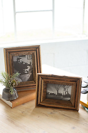 Set of Two Recycled Wood Photo Frames - Natural, , rollover