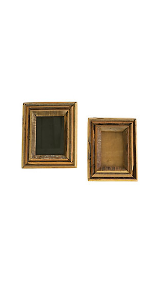 Set of Two Recycled Wood Photo Frames - Natural, , large
