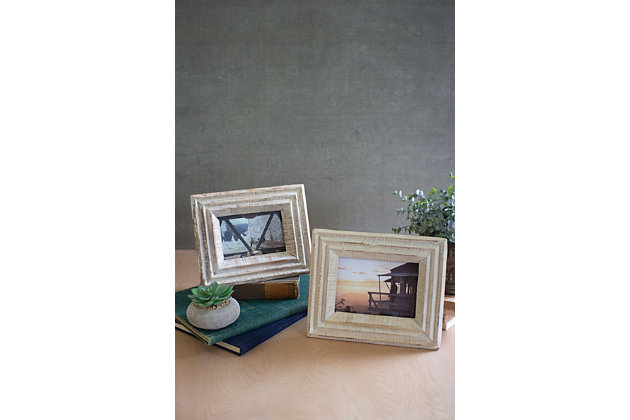 Set of Two Recycled Wood Photo Frames - White Wash, , large