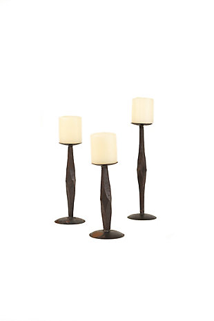 Set of Three Hand Forged Iron Candle Stands, , large