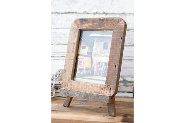 Recycled Wood Photo Frame on An Easel, , large