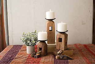 Set of Three Square Wooden Furniture Leg Candle Holders, , rollover