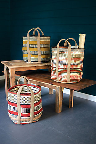 Set of Three Multi Colored Woven Jute Baskets with Handles, , rollover