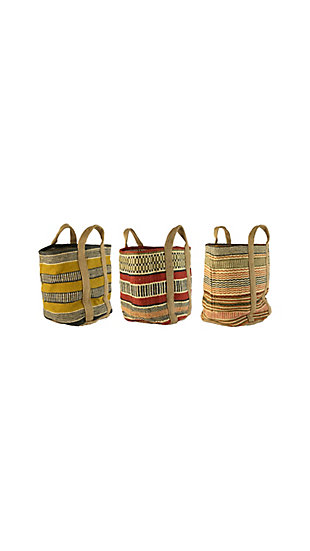 Set of Three Multi Colored Woven Jute Baskets with Handles, , large