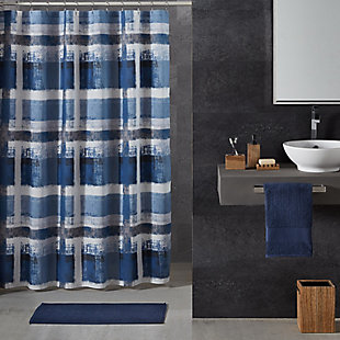 Oscar Oliver Percy Shower Curtain, Navy Blue, rollover