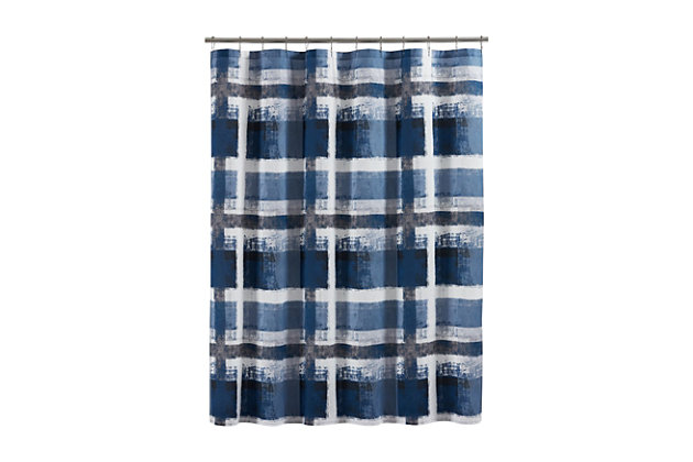 Oscar Oliver Percy Shower Curtain, Navy Blue, large