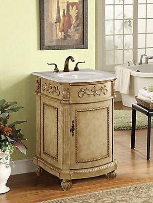 "Danville 24"" Single Bathroom Vanity Set, Antique Beige, rollover"