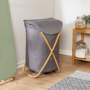 Honey-Can-Do Bamboo and Canvas Hamper, , rollover