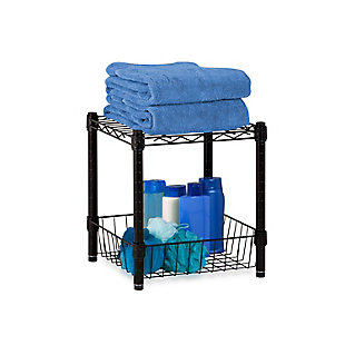 Honey-Can-Do Black Wire Shelf with Basket, , rollover