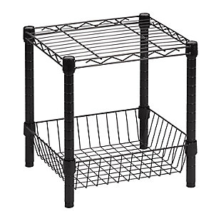 Honey-Can-Do Black Wire Shelf with Basket, , large