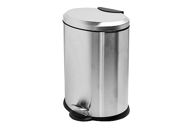Honey-Can-Do 12L Oval Stainless Steel Step Can, , large