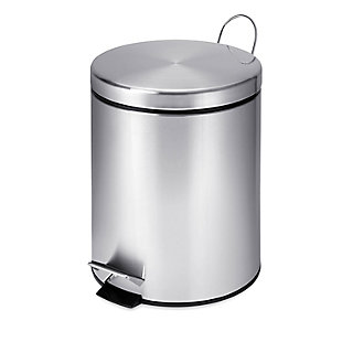 Honey-Can-Do Mini Stainless Steel Trash Can with Lid and Foot Pedal, , large