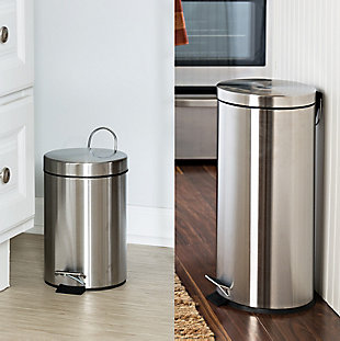 Honey-Can-Do 30L & 3L Stainless Steel Trash Can Combo, , rollover