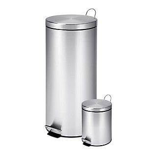 Honey-Can-Do 30L & 3L Stainless Steel Trash Can Combo, , large