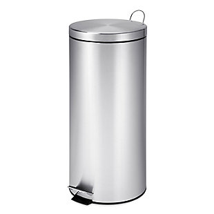 Honey-Can-Do 30L Round Stainless Steel Step Can with Bucket, , large