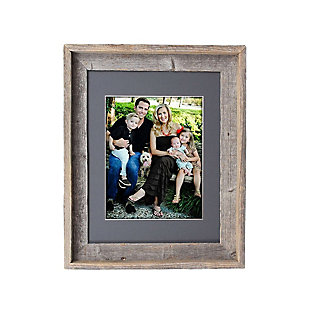 """Study Signature Picture Frame Matted for 11 x 14"""" Photos - 100% Reclaimed Wood, Cinder Mat, , large"""
