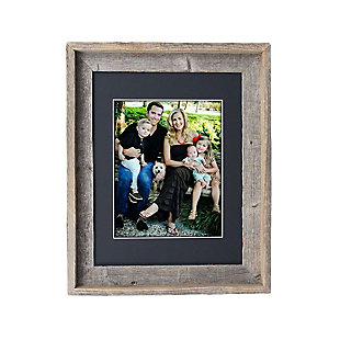 "Study Signature Picture Frame Matted for 11 x 14"" Photos- 100% Reclaimed Wood, Black Mat, , large"
