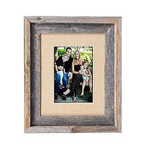 "Study Signature Picture Frame Matted for 8 x 10"" Photos - 100% Reclaimed Wood, Burlap Mat, , large"