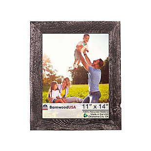"""Farmhouse 11 x 14"""" Picture Frame - 100% Up-Cycled Reclaimed Wood, Smoky Black, , large"""
