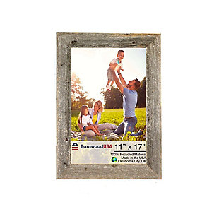 """Rustic 11 x 17"""" Picture Frame - 100% Reclaimed Wood, Weathered Gray, , large"""