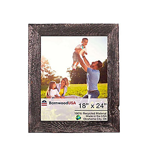 "Intriguing Rustic Farmhouse 18 x 24"" Picture Frame - 100% Reclaimed Wood, Smokey Black, , large"