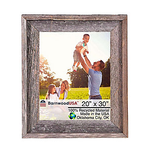 "Intriguing Rustic Farmhouse 20 x 30"" Picture Frame - 100% Reclaimed Wood, Natural Weathered Gray, , large"