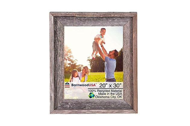 """Intriguing Rustic Farmhouse 20 x 30"""" Picture Frame - 100% Reclaimed Wood, Natural Weathered Gray, , large"""