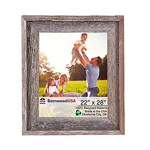 """Intriguing Rustic Farmhouse 22 x 28"""" Picture Frame - 100% Reclaimed Wood, Natural Weathered Gray, , large"""