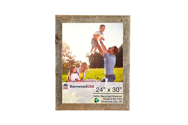 "Rustic Farmhouse 24 x 30"" Picture Frame - 100% Reclaimed Wood, Natural Weathered Gray, , large"