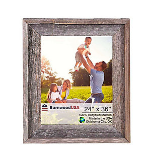 "Abstract Rustic Farmhouse 24 x 36"" Picture Frame - 100% Reclaimed Wood, Natural Weathered Gray, , large"