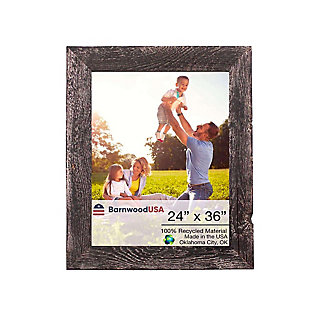"Abstract Rustic Farmhouse 24 x 36"" Picture Frame - 100% Reclaimed Wood, Smokey Black, , large"