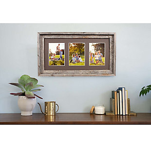 "Abstract Opening Picture Frame - 100% Up-Cycled Reclaimed Wood Frame (Three 5 x 7"" Photos), , rollover"