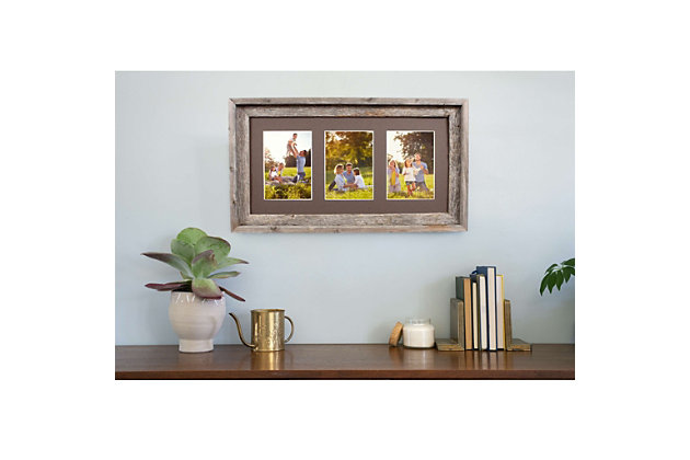 """Abstract Opening Picture Frame - 100% Up-Cycled Reclaimed Wood Frame (Three 5 x 7"""" Photos), , large"""