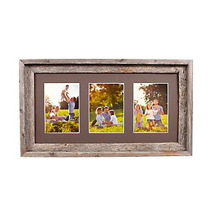"Abstract Opening Picture Frame - 100% Up-Cycled Reclaimed Wood Frame (Three 5 x 7"" Photos), , large"