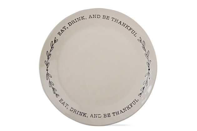Home Accents Be Thankful Platter by Ashley HomeStore, White