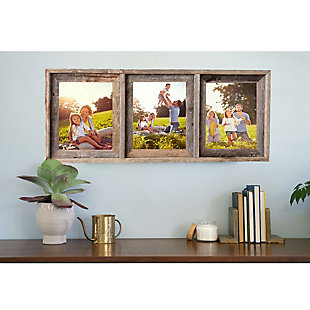 """Abstract Opening Picture Frame - 100% Up-Cycled Reclaimed Wood Frame (Three 8 x 10"""" Photos), , rollover"""