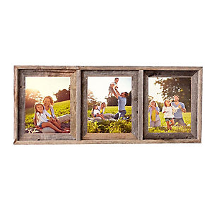 """Abstract Opening Picture Frame - 100% Up-Cycled Reclaimed Wood Frame (Three 8 x 10"""" Photos), , large"""