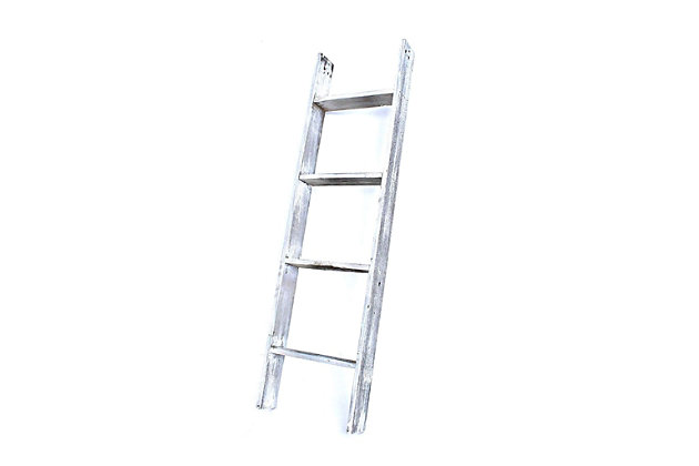 White 4 Ft. Rustic Farmhouse Blanket Ladder, White, large