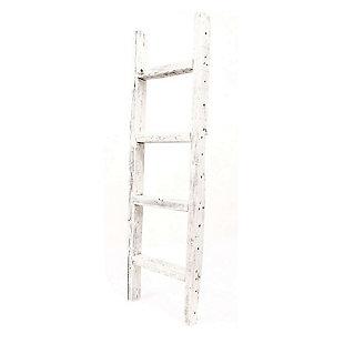 White 4 Ft. Rustic Farmhouse Decorative Ladder, Cream, large