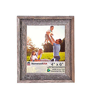 """Gray Farmhouse Style Rustic 4 x 6"""" Picture Frame - 100% Reclaimed Wood, , large"""