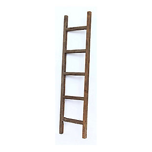 Brown 5 Ft. Rustic Farmhouse Decorative Ladder - 100% Recycled and Reclaimed Wood, Brown, large