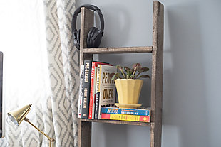Brown 5 Ft. Rustic Decorative Wooden Display Ladder - 100% Reclaimed Wood, Light Brown, rollover