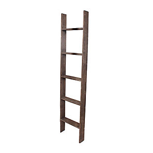 Brown 5 Ft. Rustic Decorative Wooden Display Ladder - 100% Reclaimed Wood, Light Brown, large