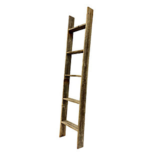 Brown 5 Ft. Rustic Farmhouse Blanket Ladder - 100% Recycled and Reclaimed Wood, Dark Brown, large