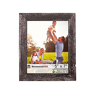 """Rustic Farmhouse Style Rustic 5 x 7"""" Picture Frame - 100% Reclaimed Wood, Smokey Black, , large"""