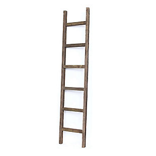 Brown 6 Ft. Rustic Farmhouse Decorative Ladder - 100% Recycled and Reclaimed Wood, Brown, large