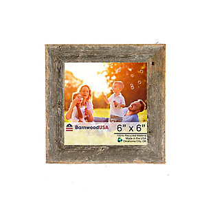 """Farmhouse 6 x 6"""" Picture Frame - 100% Up-Cycled Reclaimed Wood, Natural Weathered Gray, , large"""