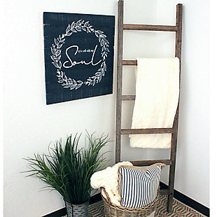 Gray 6 Ft. Rustic Blanket Ladder - 100% Up-Cycled Wood, , rollover