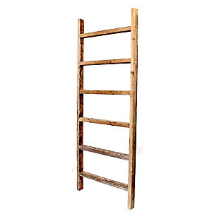 Gray 6 Ft. Rustic Blanket Ladder - 100% Up-Cycled Wood, , large